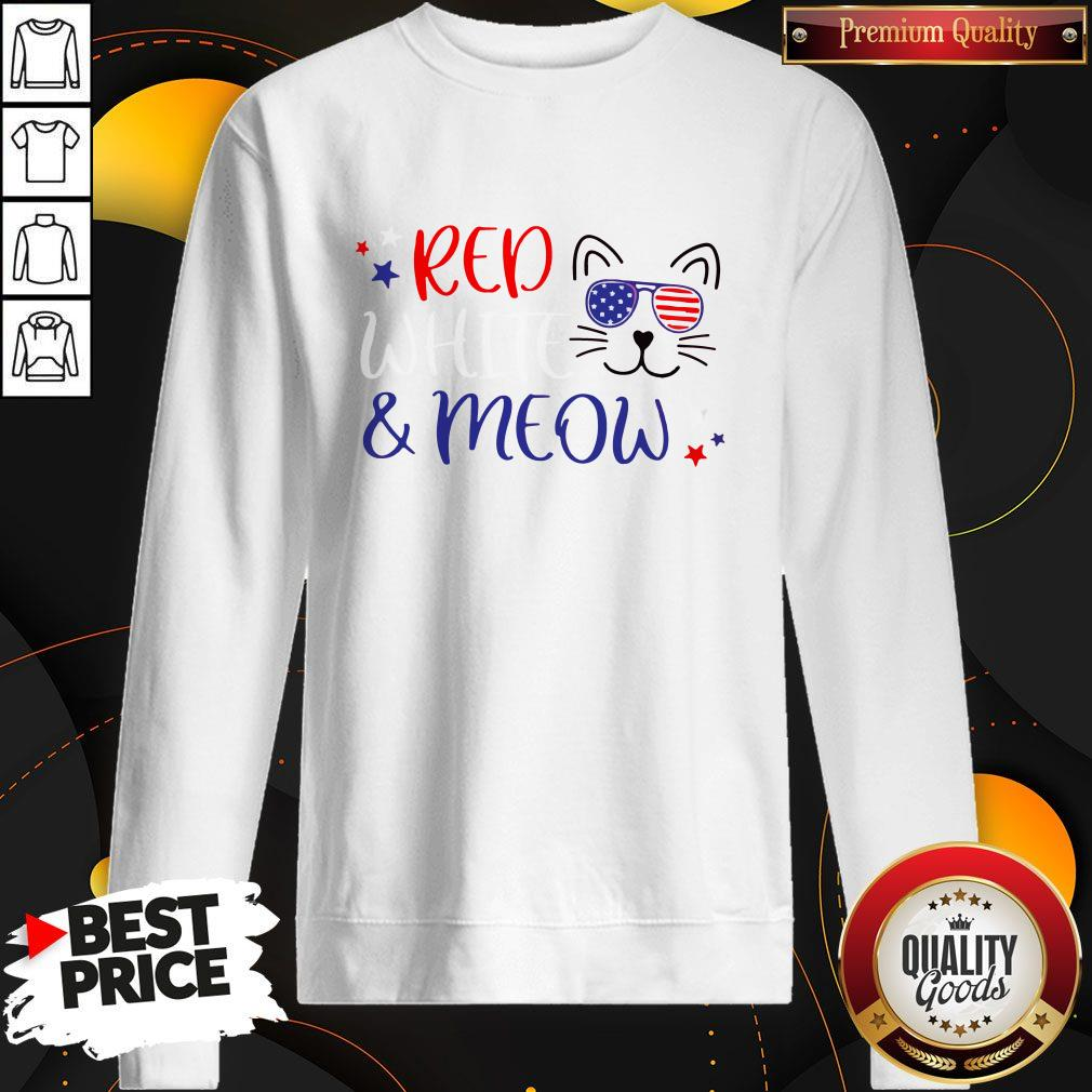 Red White And Meow 4th Of July Sweatshirt