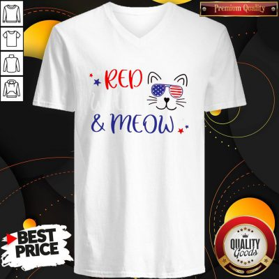 Red White And Meow 4th Of July V- neck