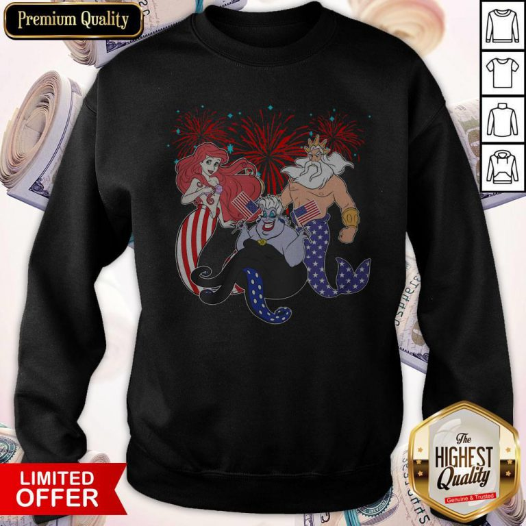The Little Mermaid Happy The 4th Of July American Flag Independence Day Sweatshirt