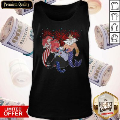 The Little Mermaid Happy The 4th Of July American Flag Independence Day Tank Top