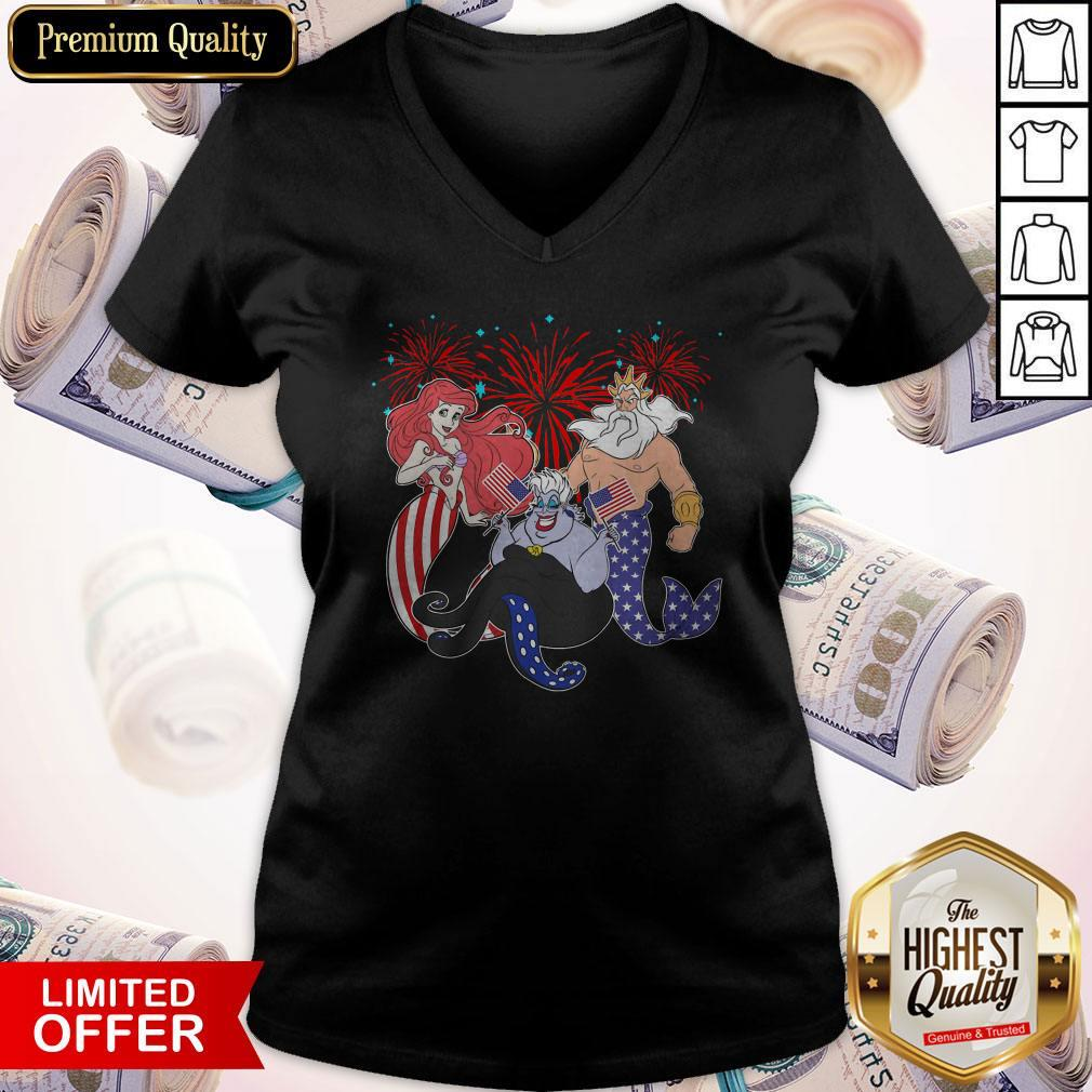 The Little Mermaid Happy The 4th Of July American Flag Independence Day V-neck