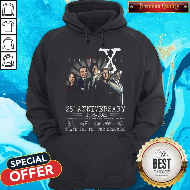 The X Files 28th Anniversary 1993 2021 Thank You For The Memories Signatures Hoodiea