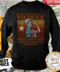 Top Never Underestimate A Nurse Who Survived 2020 Coronavirus Pandemic Vintage Sweatshirt