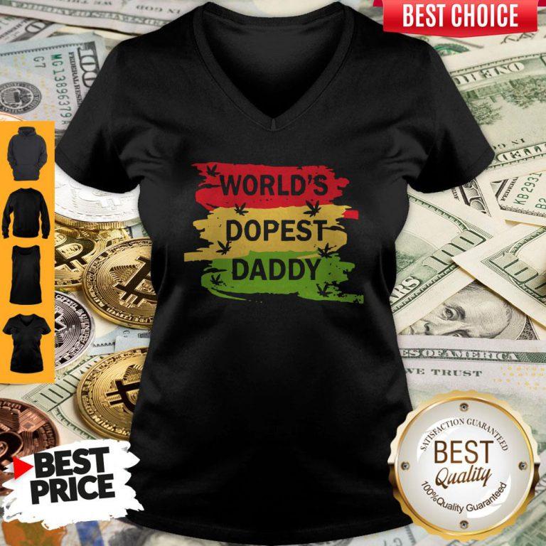 Top World's Dopest Daddy Cannabis V-neck