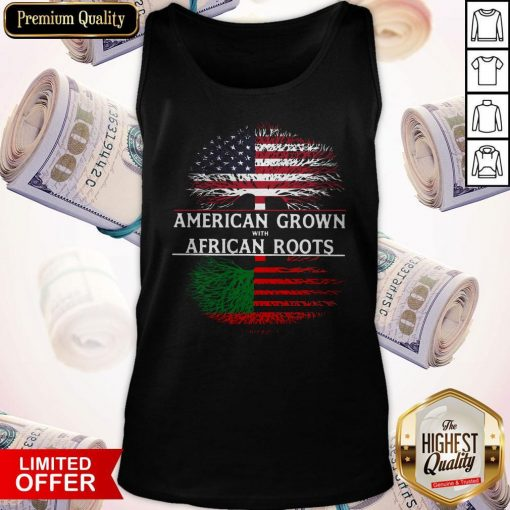 Tree American Grown With African Roots American Flag Independence Day Tank Top