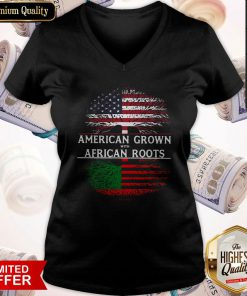 Tree American Grown With African Roots American Flag Independence Day V-neck