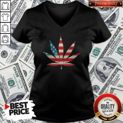 Weed Happy The 4th Of July America V-neck