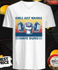 Weight Lifting Girls Just Wanna Have Guns Vintage V- neck
