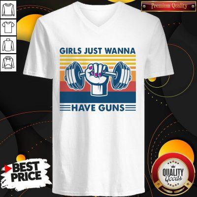 Weight Lifting Girls Just Wanna Have Guns Vintage V- neck