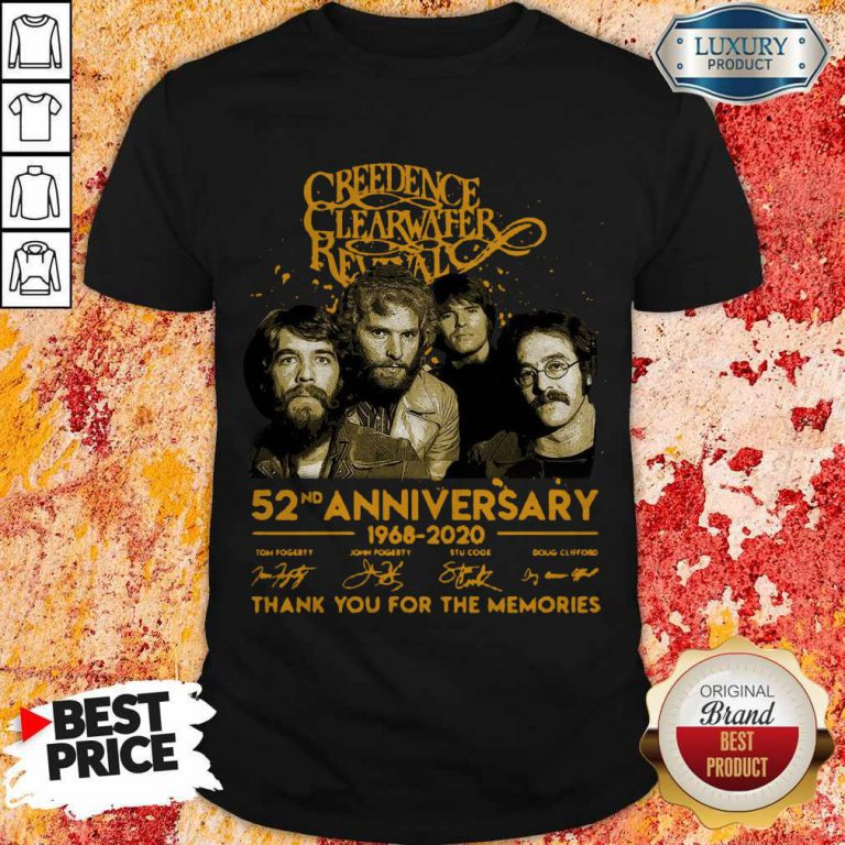 Creedence Clearwater Rewal 52nd Anniversary 1968 2020 Signatures Thank You For The Memories Shirt