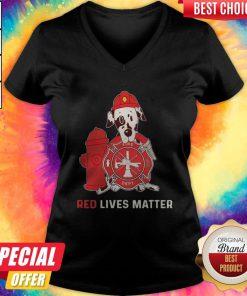 Dalmatian Dog Fire Dept Red Lives Matter V- neck