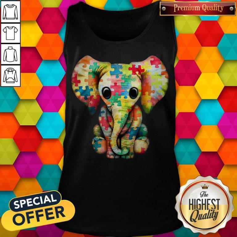 Elephant Autism world Autism Awareness Day Gift Tank Top