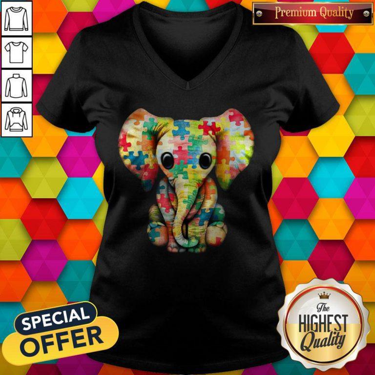 Elephant Autism world Autism Awareness Day Gift V- neck