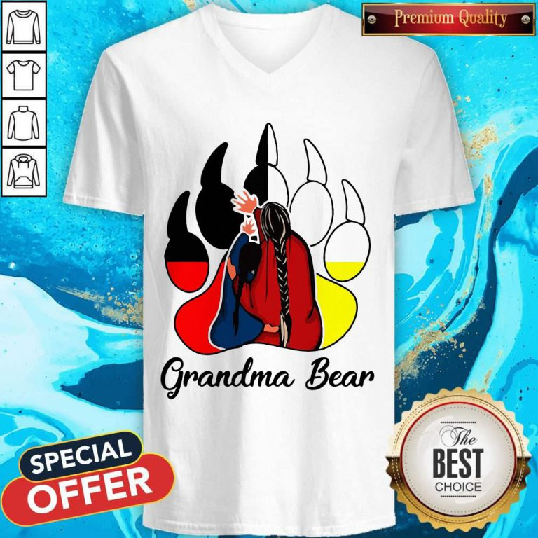 Funny Native Grandma Bear V- neck