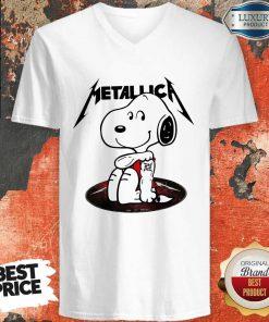 Funny Snoopy Tattoo Metallica V- neck