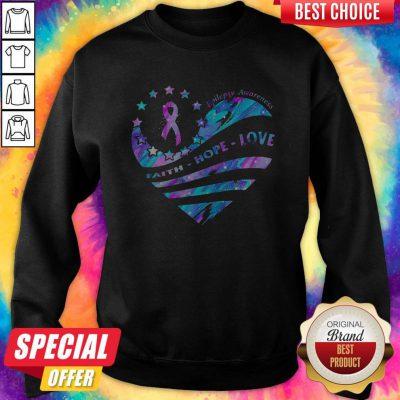 Heart Cancer Epilepsy Awareness Faith Hope Love weatshirt