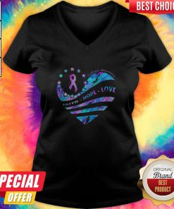 Heart Cancer Epilepsy Awareness Faith Hope Love V- neck