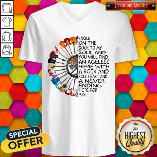 Hippie Guitar Knock On The Door To My Soul V- neck