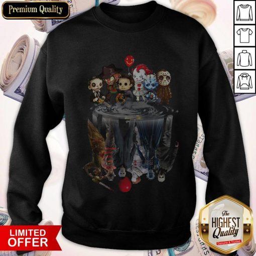 Horror Characters Movies Water Mirror Reflection Halloween weatshirt