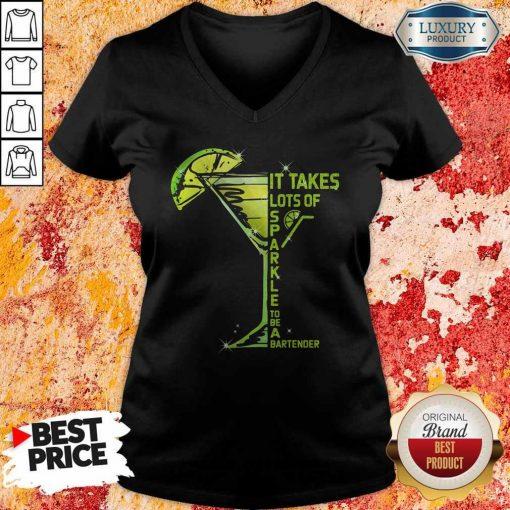 It Takes Lots Of Sparkle To Be Bartender Glass Lemon V- neck