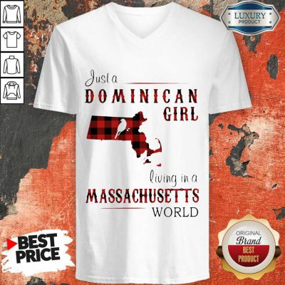 Just A Dominican Girl Living In A Massachusetts World Map V- neck