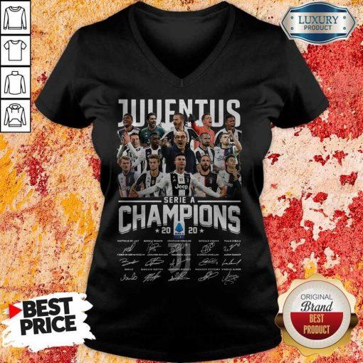 Juventus Serie A Champions 2020 Signatures V- neck