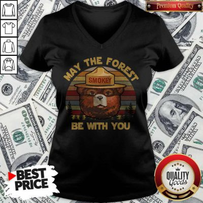 May The Forest Smokey Be With You Vintage Retro V- neck
