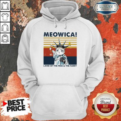 Meowica Land Of The Free And The Furry Vintage Retro Hoodiea