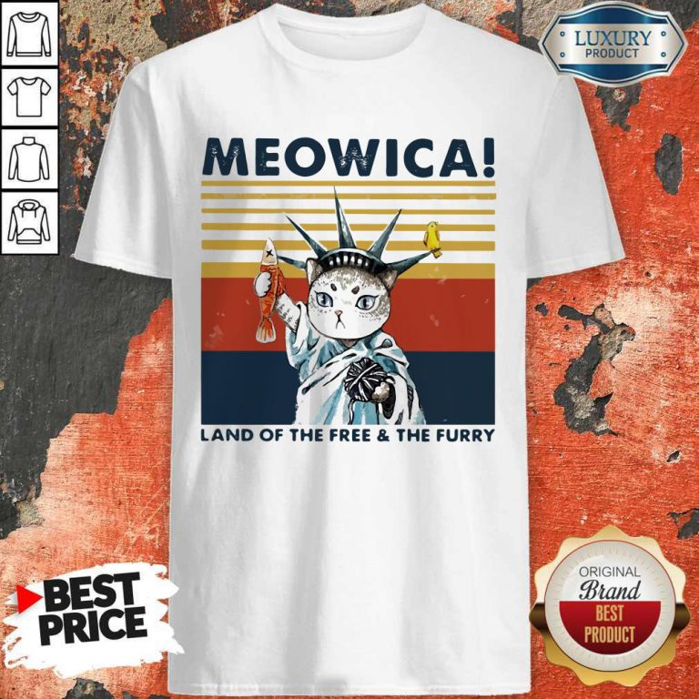 Meowica Land Of The Free And The Furry Vintage Retro Shirt
