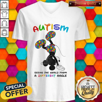 Mickey Mouse Autism Seeing The World From A Different Angle V- neck