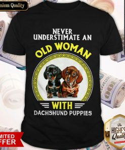 Never Underestimate An Old Woman With Dachshund Puppies Shirt