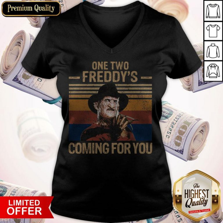 One Two Freddys Coming For You Vintage V- neck
