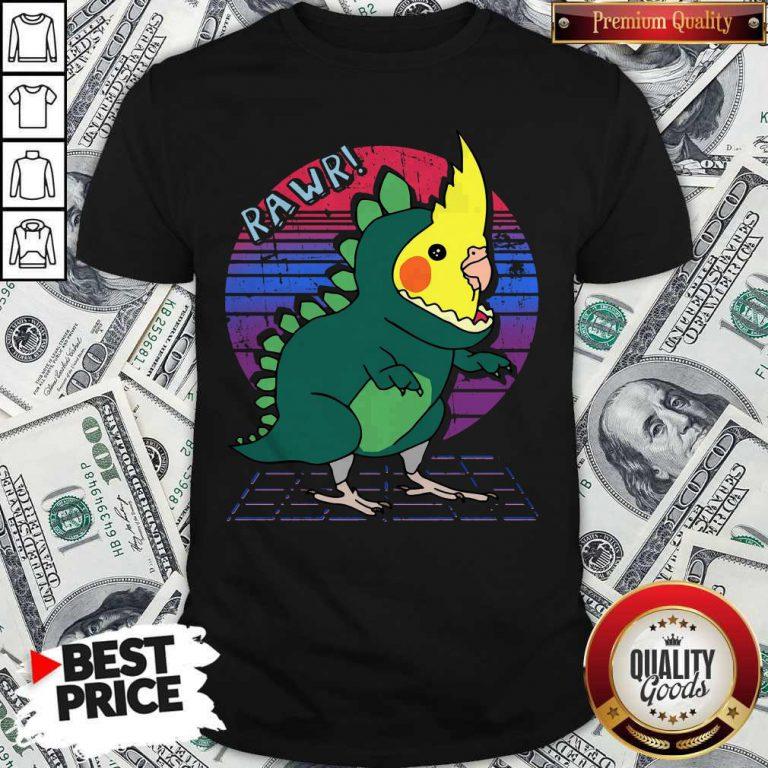Original Vaporwave Cockatiel Dinosaur Shirt