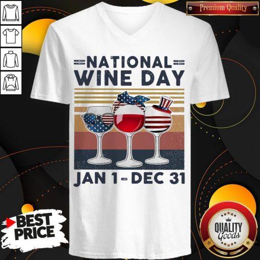 Top National Wine Day Jan1 Dec31 V- neck