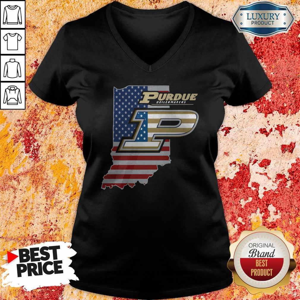 Purdue Boilermakers American Flag V- neck