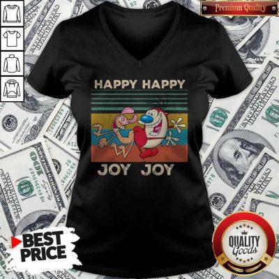 Ren And Stimpy Happy Happy Joy Joy Vintage V- neck