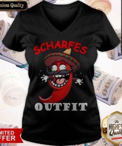 scharfes-outfit-comic-chilli-scharfe-chili-langarm V- neck