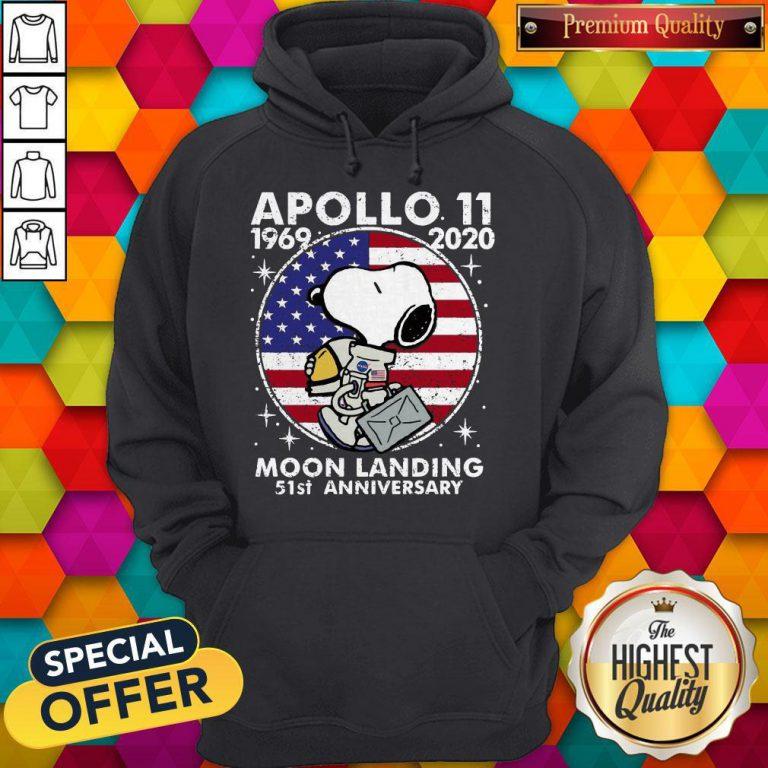 Snoopy American Flag Apollo 11 1969 2020 Moon Landing 51st Anniversary Hoodiea