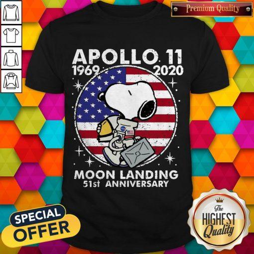 Snoopy American Flag Apollo 11 1969 2020 Moon Landing 51st Anniversary Shirt