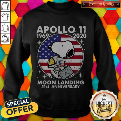 Snoopy American Flag Apollo 11 1969 2020 Moon Landing 51st Anniversary weatshirt