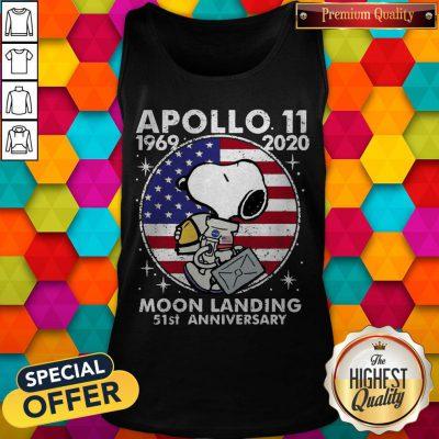 Snoopy American Flag Apollo 11 1969 2020 Moon Landing 51st Anniversary Tank Top