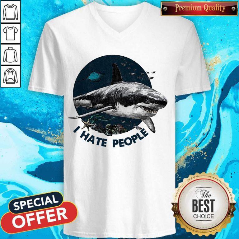 Top Shark I Hate People V- neck
