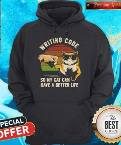 Vintage Writing Code So My Cat Can have A Better Life Hoodiea