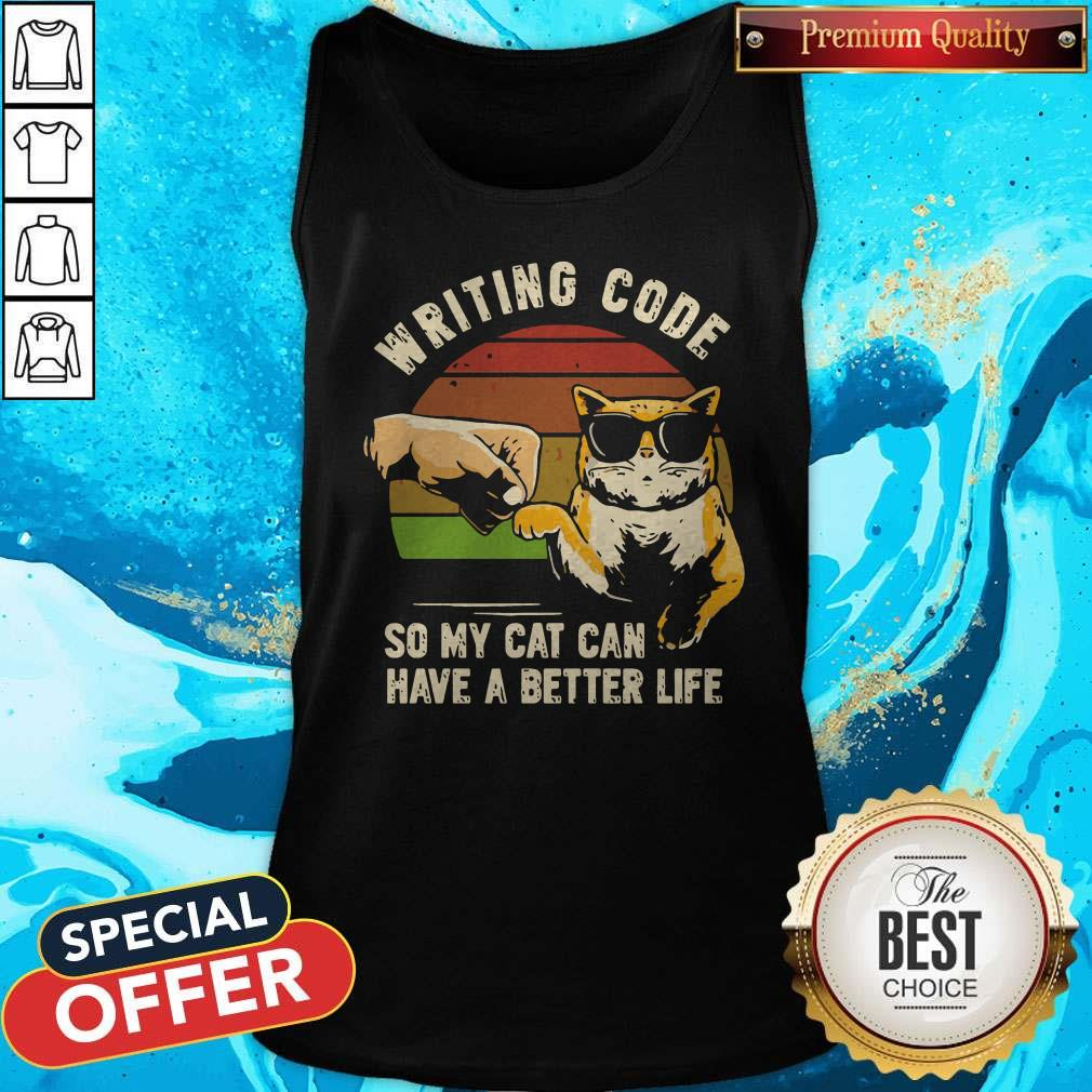 Vintage Writing Code So My Cat Can have A Better Life Tank Top