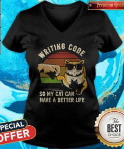 Vintage Writing Code So My Cat Can have A Better Life V- neck