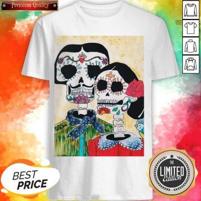Amor Couple Sugar Skulls Day Of The Dead Shirt