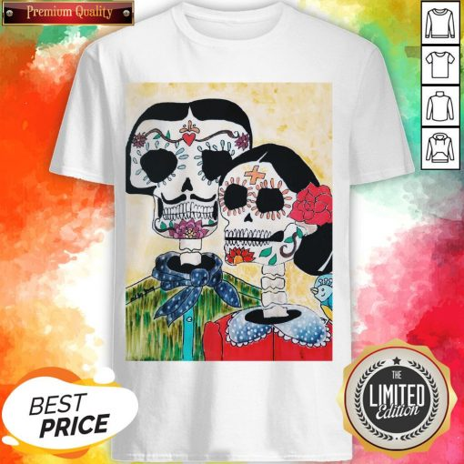 Amor Couple Sugar Skulls Day Of The Dead Shirt