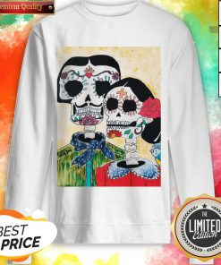 Amor Couple Sugar Skulls Day Of The Dead Sweatshirt