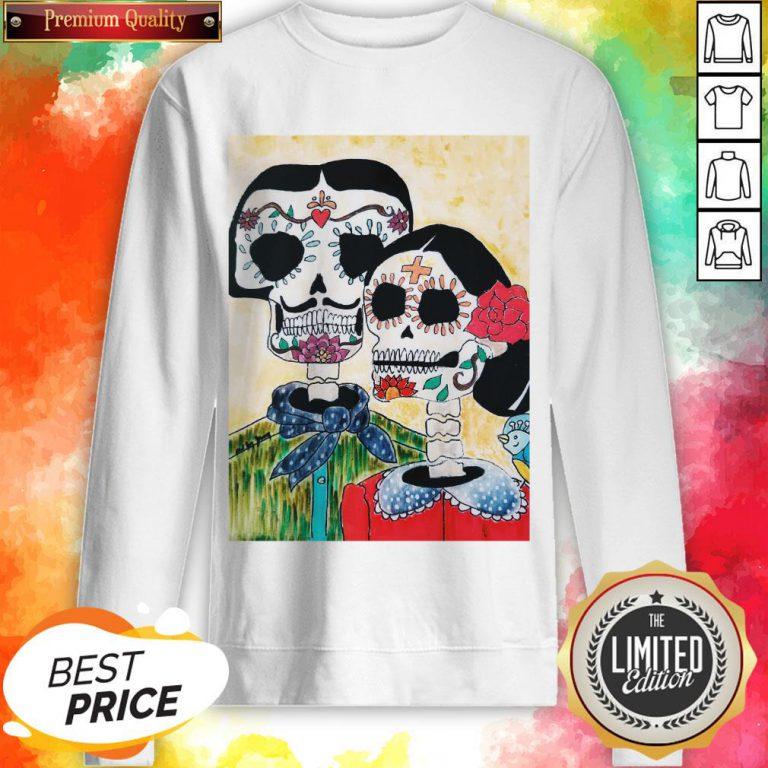 Amor Couple Sugar Skulls Day Of The Dead Sweatshirt