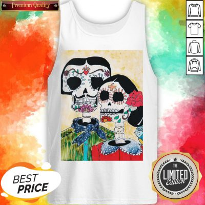 Amor Couple Sugar Skulls Day Of The Dead Tank Top